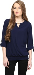 Rare Casual Roll-up Sleeve Solid Women's Blue Top