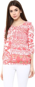 Mayra Party 3/4th Sleeve Printed Women's Pink Top