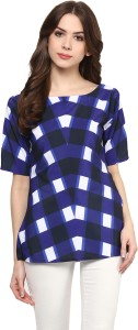 Ziyaa Casual Short Sleeve Checkered Women's Blue Top