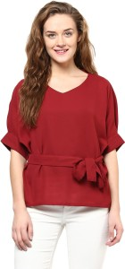 Miss Chase Party Short Sleeve Solid Women's Maroon Top