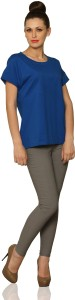 Miss Chase Casual Short Sleeve Solid Women's Blue Top