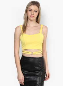 Veni Vidi Vici Casual Sleeveless Solid, Embellished Women's Yellow, Gold Top