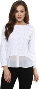 Miss Chase Casual Full Sleeve Solid Women's White Top