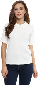 Miss Chase Casual Short Sleeve Solid Women's White Top