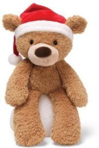 Gund Fuzzy Bear With Santa Hat Brown 13