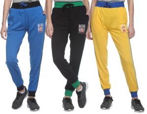 69gal Solid Women S Light Blue Black Yellow Track Pants Best Price
