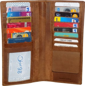 Kan Kan Brown Premium Quality Leather Travel Organizer Wallet For Men and Women