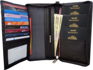 Kan Kan Black Genuine Leather Travel Organizer Wallet For Men and Women