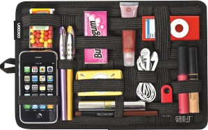 PackNBUY Grid Pad with Black Color Zipped Pouch Electronics Cosmetics Tool Organizer Bag