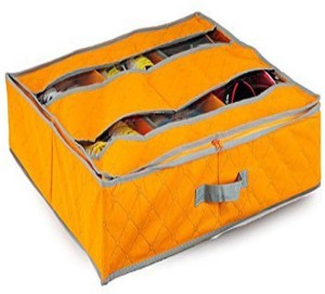Everyday Desire Under the bed shoe organizer with 6 compartment (Orange)