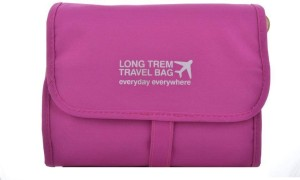 PackNBUY Folding Hanging Cosmetics Travel Organizer For Make Up Kits Toiletry Pouch Bags - Pink Color