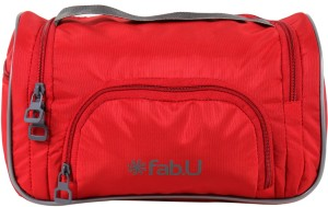 Fab U Red Polyester Vanity Kit With Mirror Travel Toiletry Kit
