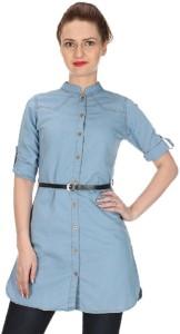 adelina Women's Solid Casual Denim Blue Shirt