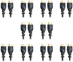 C&E  TV-out Cable 3 Feet HDMI Cable 1080p 4K 3D High Speed with Ethernet ARC Latest Version, 10 Pack