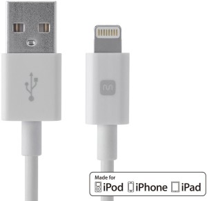 C&E  TV-out Cable Select Series Apple® MFi Certified Lightning™ to USB Charge & Sync Cable, 10ft White