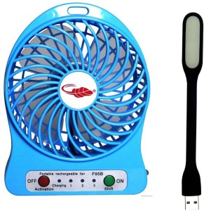 Techvik Portable Battery Operated Powerful Rechargeable With Flexible LED Light USB Fan