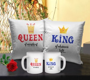 Tiedribbons Romantic Gifts for Husband Wife 2 Cushion with Fillers and 2 Coffee Mugs Cushion Gift Set