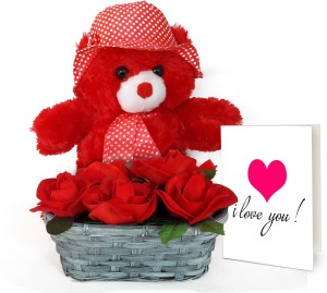 Tiedribbons Valentines Day Best Gifts for Girl Bamboo Basket with Red Roses Bunch and Teddy Bear with Valentine's Special Greeting Card Artificial Flower ...