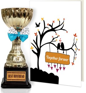 Tiedribbons Valentine S Day Gifts For Boyfriend Best Engraved Golden Trophy With Greeting Card