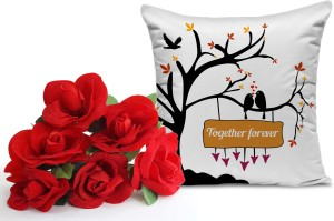 Tiedribbons Birthday Gift For Boyfriend Bunch Of 6 Artificial Red Roses And Cushion 12 Inch X Inc Best Price In India