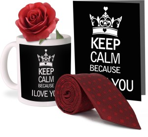f061047d478e6 Tiedribbons Valentine s Day Combo Gifts for Him Combo 1 Printed Coffee Mug  1 Tie 1 Rose and 1 Greeti Best Price in India