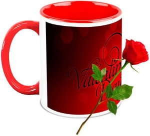 Homesogood Beautiful Valentine S Day Coffee Mug With Red Rose