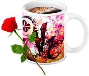 Homesogood Abstract Design Love Coffee Mug With Red Rose Valentine