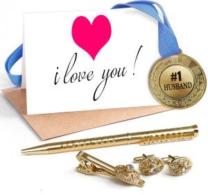 3cae3d8aed2d3 Tiedribbons Valentine Day Romantic Special Gifts for Husband Combo Pack(Golden  Cufflinks