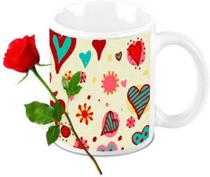 Homesogood Valentine S Abstract Art Coffee Mug With Red Rose