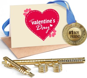 06e66f6a8c2bf Tiedribbons Valentine s Day Special Gifts for Him Combo Pack(Golden  Cufflinks