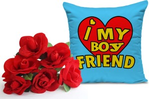 Tied Ribbons Birthday Gift For Him Bunch Of 6 Artificial Red Roses And Cushion12