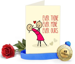 Tiedribbons Valentine Gift For Husband Valentines Special Greeting Card With Golden Medal And Red Rose Greeting