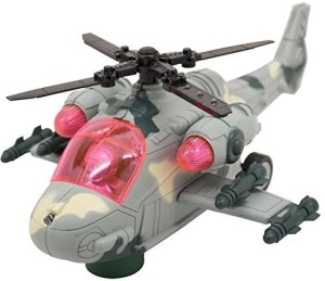 Techege Toys Apache Helicopter Bump'N'Go Does Not Fly Kids LightsGrey
