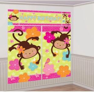 Amscan Mod Monkey Love Giant Scene Setter Wall Decorating Kit