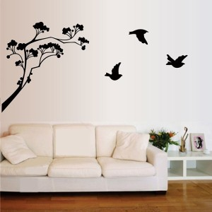 Happy walls Tree With Flying Birds Silhouette In Black