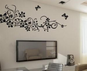 6b711abbd Oren Empower Beautiful Black flower large wall sticker 75 cm X cm ...
