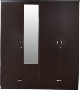 HomeTown Utsav Engineered Wood 4 Door WardrobeFinish Color - Wenge, Mirror  Included