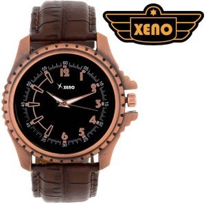 Xeno BN327 DayDate Pattern Chronograph type Black Dial New Look Fashion Stylish Modish Brown Leather Analog Watch  - For Boys