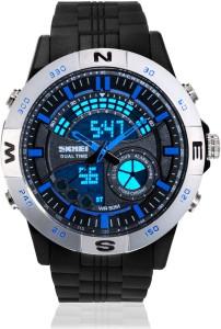 Skmei AD1110-Silver-Bezel-Blue Sports Analog-Digital Watch  - For Men & Women