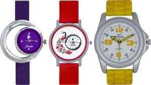Frida Designer VOLGA Beautiful New Branded Type Watches Men and Women Combo670 VOLGA Band Analog Watch  - For Couple