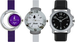 Frida Designer VOLGA Beautiful New Branded Type Watches Men and Women Combo732 VOLGA Band Analog Watch  - For Couple