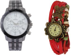 COSMIC IIK Two fashionable Metallic Cream Dial- Designer Analog Watch With cute vintage pendent analog couple watch H6HH6YT Analog Watch  - For Men & Women