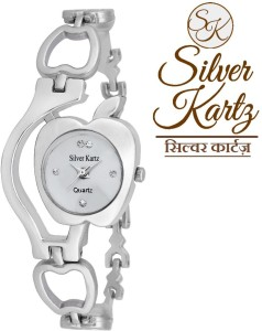 Silver Kartz Swarovski Apple Analog Watch  - For Women