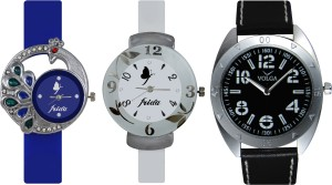 Frida Designer VOLGA Beautiful New Branded Type Watches Men and Women Combo543 VOLGA Band Analog Watch  - For Couple