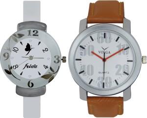 Frida Designer VOLGA Beautiful New Branded Type Watches Men and Women Combo206 VOLGA Band Analog Watch  - For Couple
