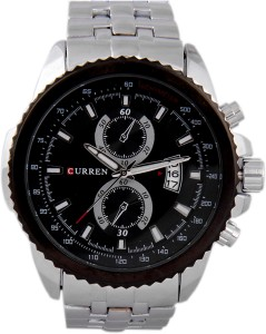 Curren FD.8082 SILVER BLK 3DATE Analog Watch  - For Men