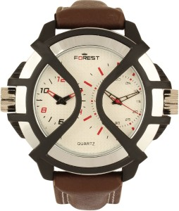 Addic Forest Brown Belt Double Display Classical-W131 Analog Watch  - For Men