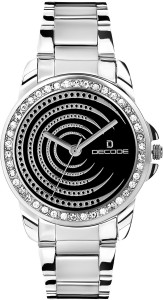 Decode Ladies Crystal Studded Ring 2112 Black Analog Watch  - For Women