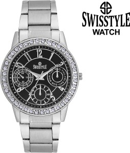Swisstyle Ladies crystal studded-SS-LR0200-BLK Analog Watch  - For Men & Women