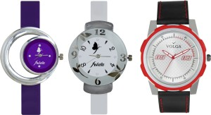 Volga Designer FVOLGA Beautiful New Branded Type Watches Men and Women Combo186 VOLGA Band Analog Watch  - For Couple
